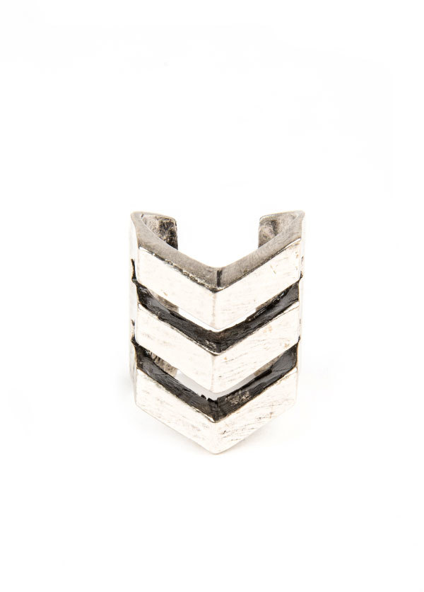 TomTom Jewelry - The Chevron Negative Space Ring in Oxidized Silver