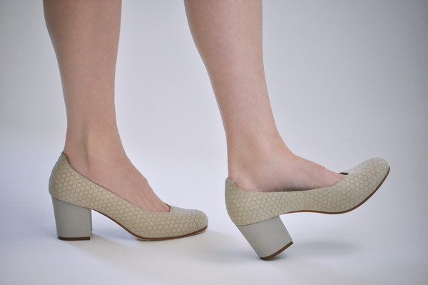 The Palatines Shoes Saturo Pump - Beige Hex Leather