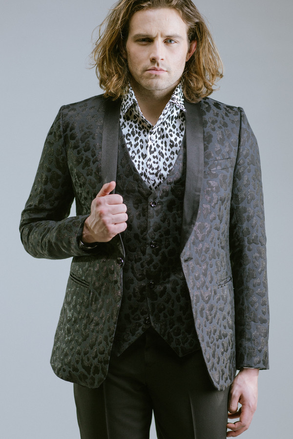 Men's Any Old Iron Black Leopard Jacket and Waist Coat Suit