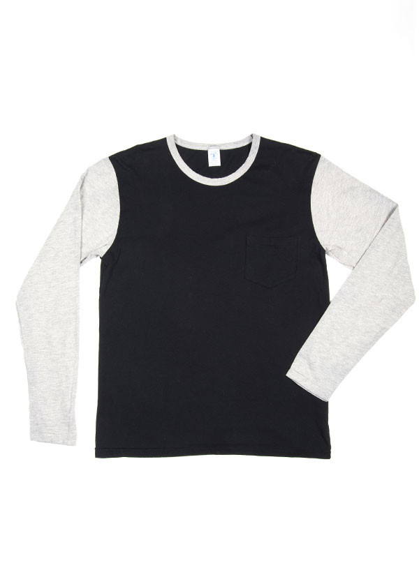 Velva Sheen - Men's Long Sleeve Baseball Tee with Pocket in Black / Grey