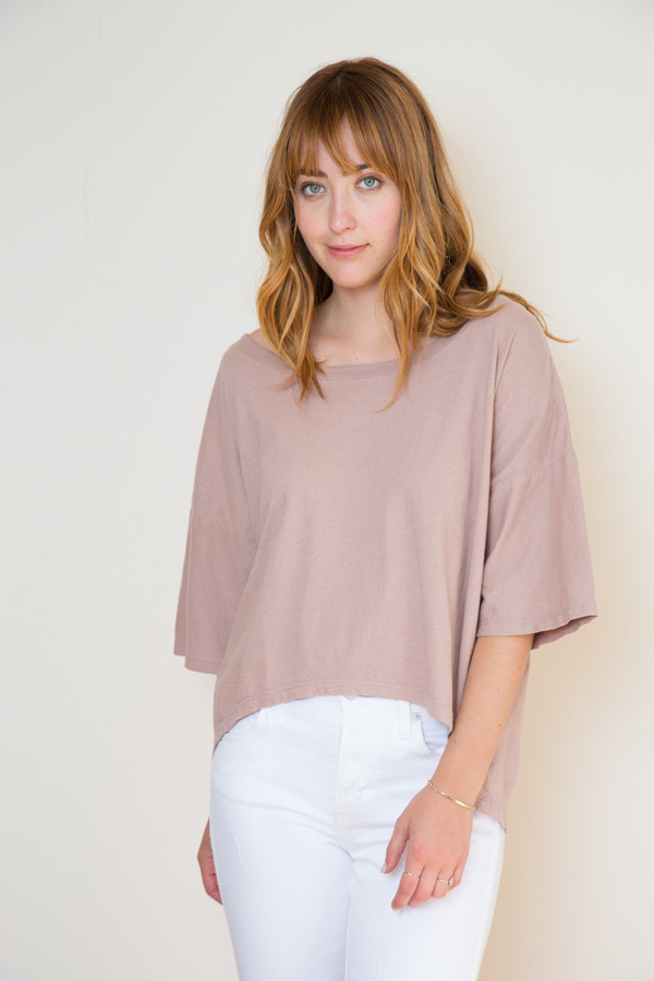 Atelier Delphine Oversized Boyfriend Tee in Mauve Taupe
