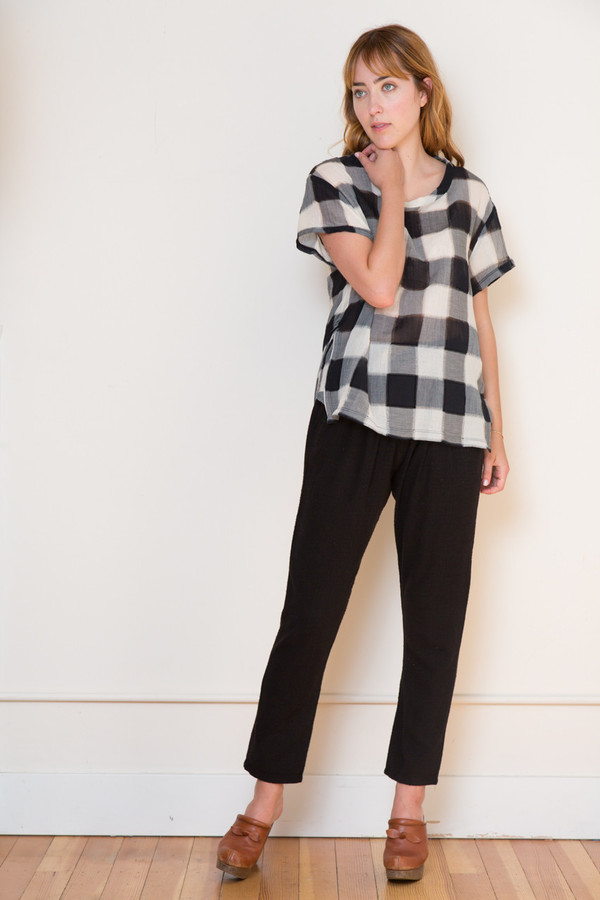 Stateside Gauze Plaid Blouse