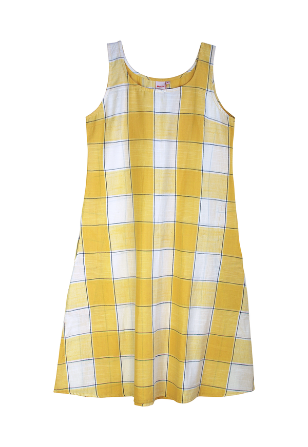 Muny Yellow Plaid Tank Dress