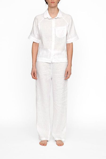 The Sleep Shirt Raglan Pyjama Top in White Linen