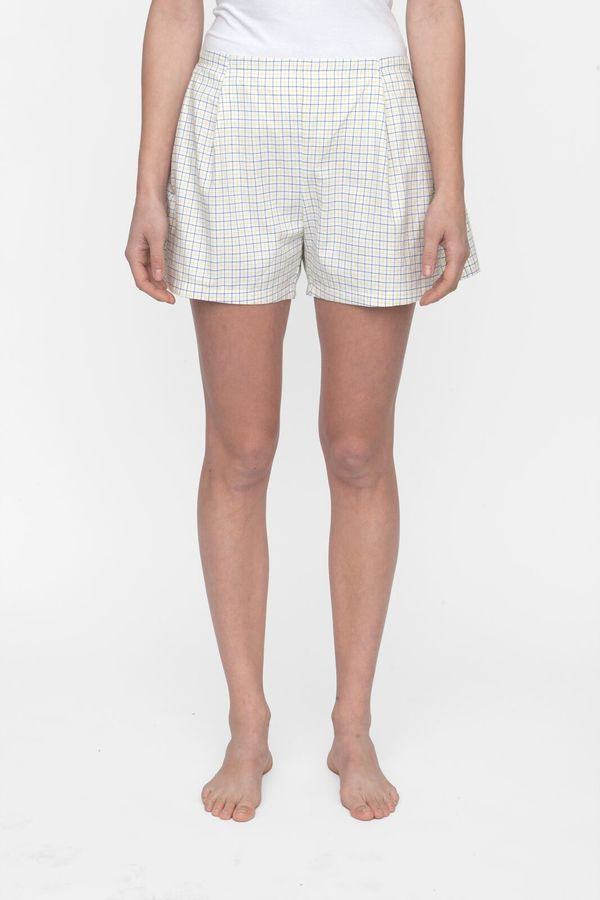 The Sleep Shirt Pleat Shorts Blue and Maize Check