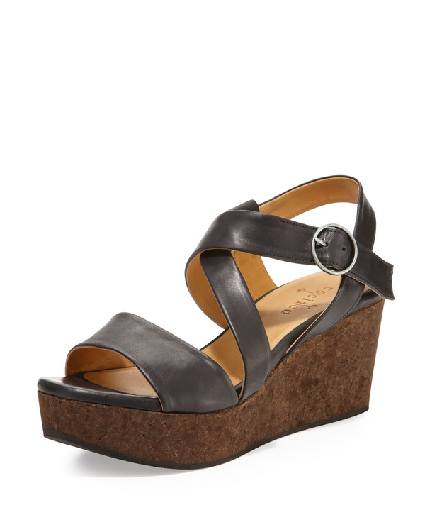 Coclico - 'Mel' Black Leather and Cork Wedge