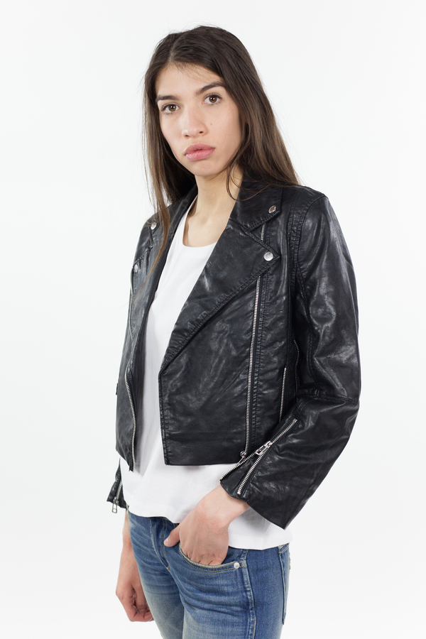 Cheap Monday Visit Leather Jacket - Black