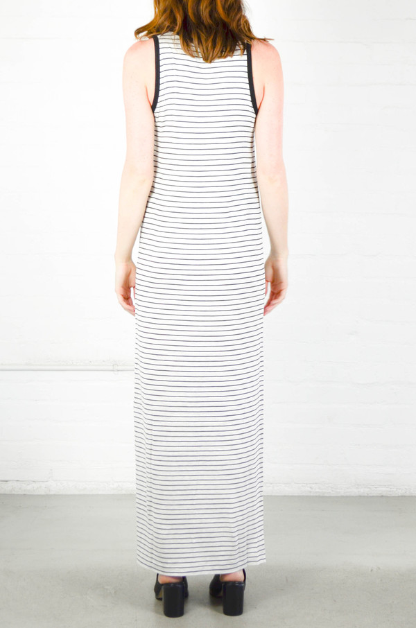 ATM Anthony Thomas Melillo ATM Striped Jersey V-Neck Maxi Dress