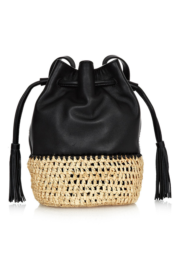 Loeffler Randall - Black Leather Bucket Bag With Woven Raffia