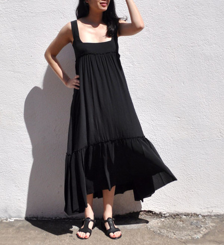 Apiece Apart Black Santos Ruffle Tank Dress
