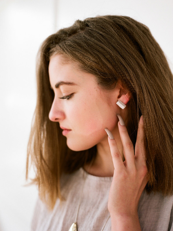 Jujumade White Bar Earring