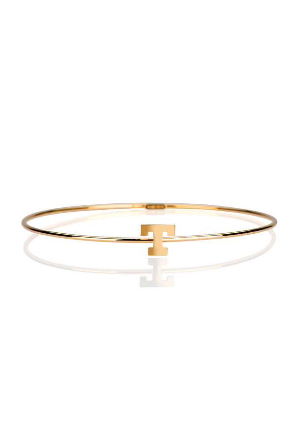 Letters By Zoe - Gold Thin Bangle With Single Initial Letter