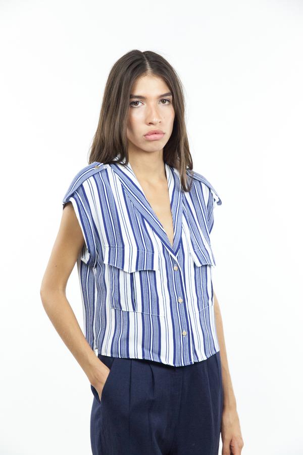 L'Academie Safari Crop Top - Sailor Stripe