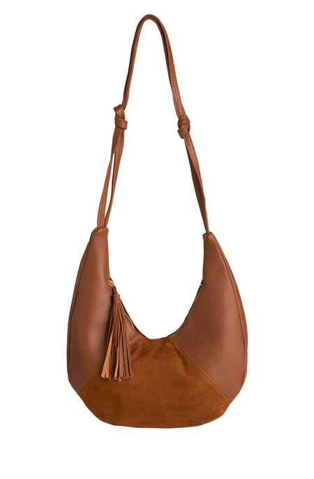 Oliveve cezy hobo bag in cognac pebbled leather / black suede