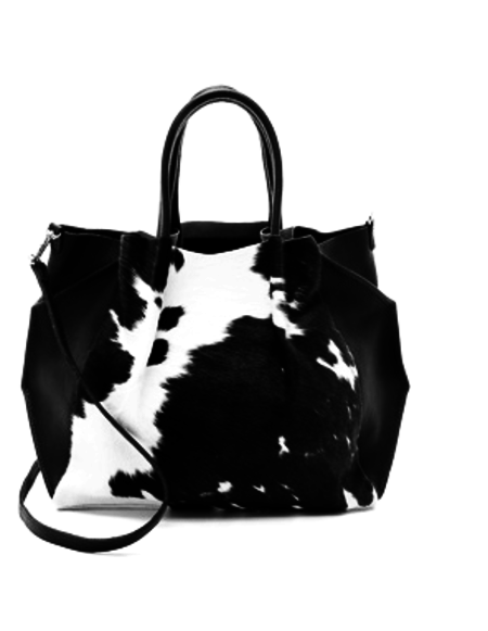 Oliveve zoe tote in black natural calf hair / black pebbled leather
