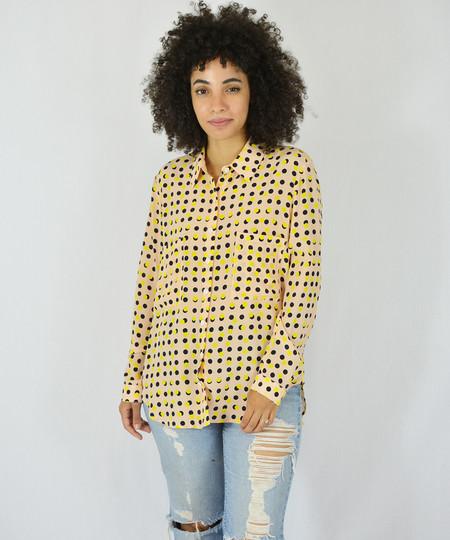Dusen Dusen Peach Double Dot Collared Shirt