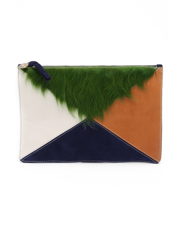 Clare V. Patchwork Leather and Hair Flat Clutch