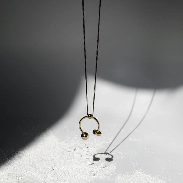 Disc + Sphere U Necklace J16