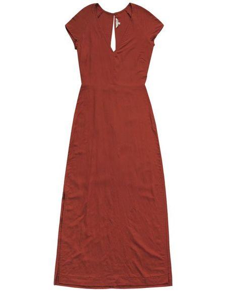 Ali Golden Deep V Maxi Dress - Rust
