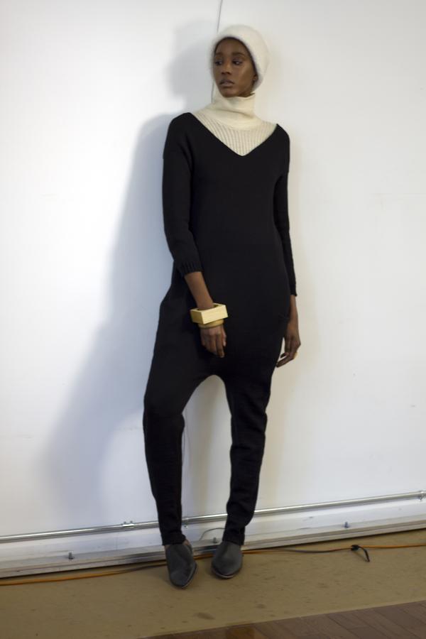pre order - été noir black knit jumpsuit