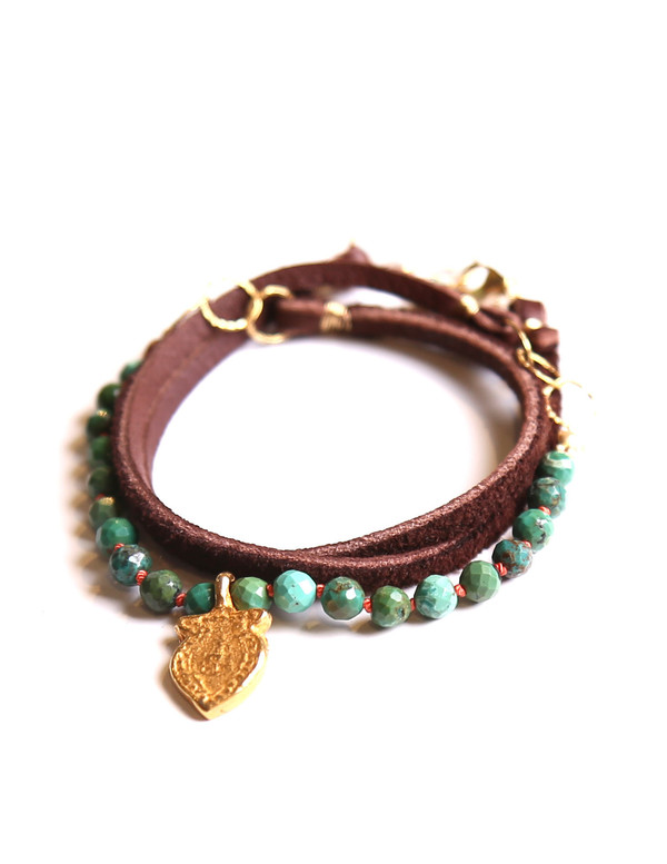 James and Jezebelle Turquoise on Leather Cord with Charm