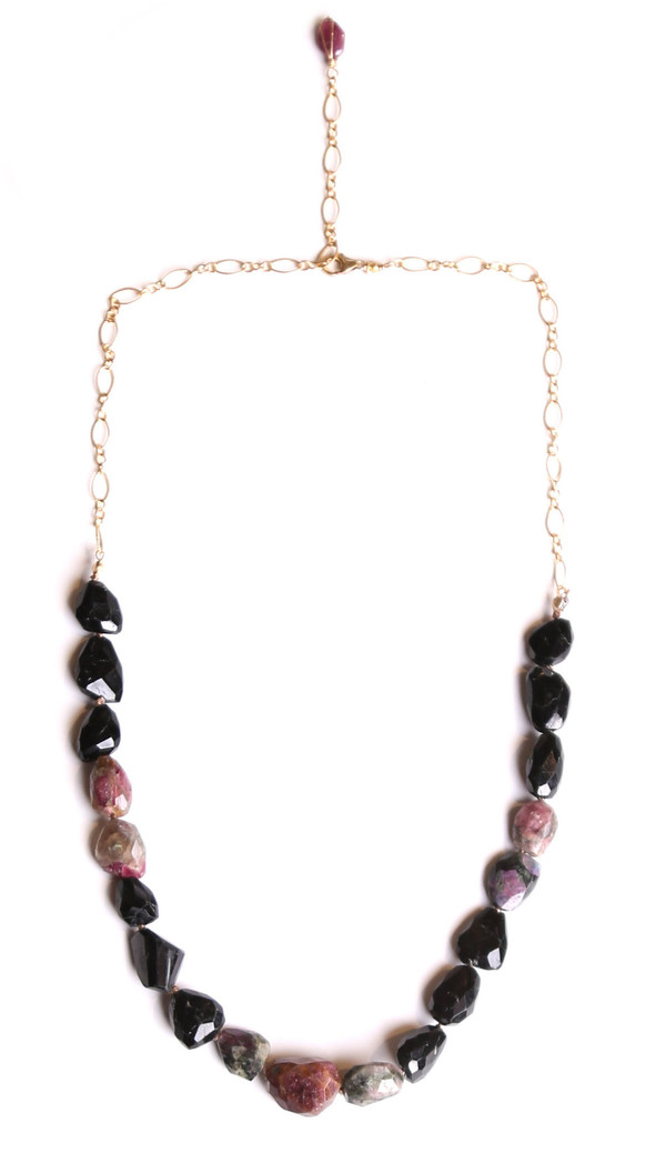 James and Jezebelle Rough Purple & Black Tourmaline Necklace