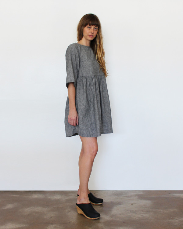 Esby Willow Babydoll Dress - Grey Stripe