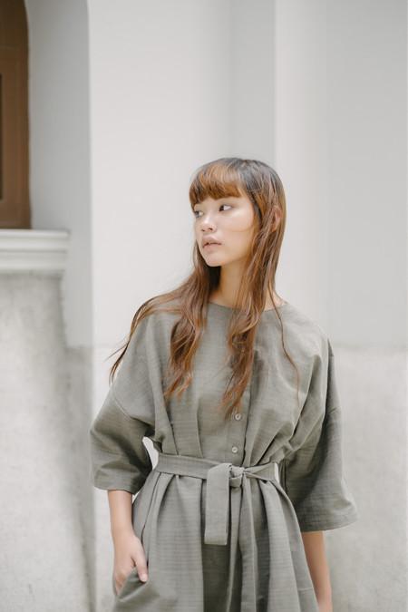Seeker Studios Two-way Button Dress - Grey