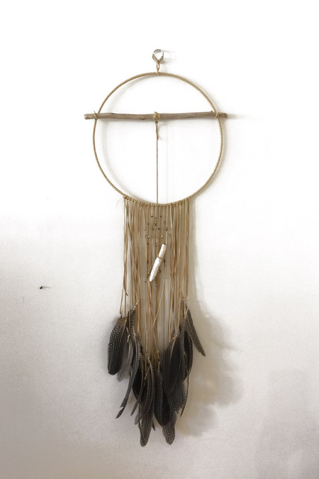 Marion McKee Round Dreamcatcher with Spotted Feathers