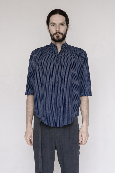 Men's Assembly New York Cotton Indigo Print Nehru Shirt