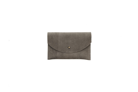 Primecut GREY LEATHER PASSPORT CLUTCH