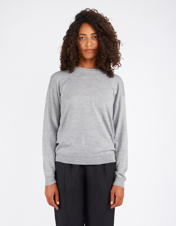 Filippa K Merino R-Neck Pullover Light Grey Melange