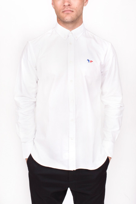 Men's Maison Kitsune Classic Oxford Button Down with Tricolor Patch White