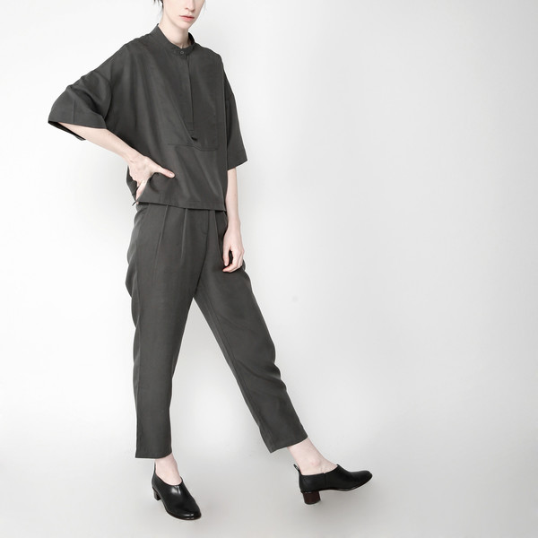 7115 by Szeki Pleated Trouser - Gray FW16