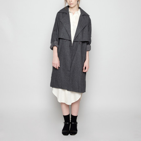 7115 by Szeki Wool Trench Coat - Gray FW16