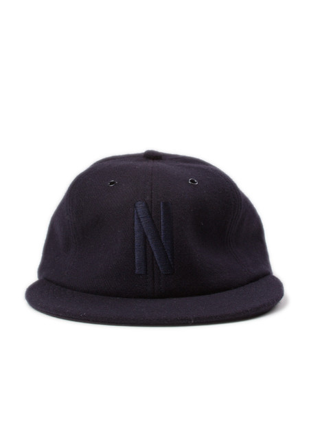 Norse Projects 6 Panel N Wool Flannel Flat Cap Navy