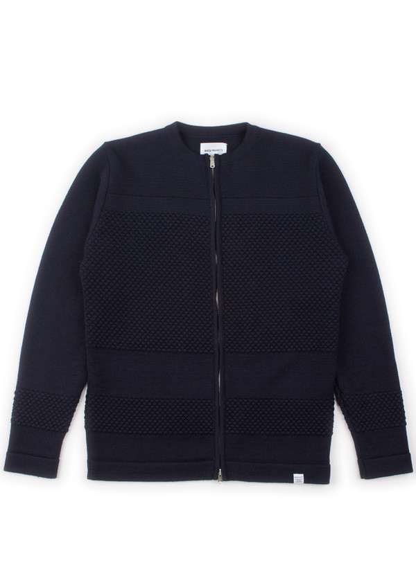 Norse Projects Skagen Zip Wool Navy