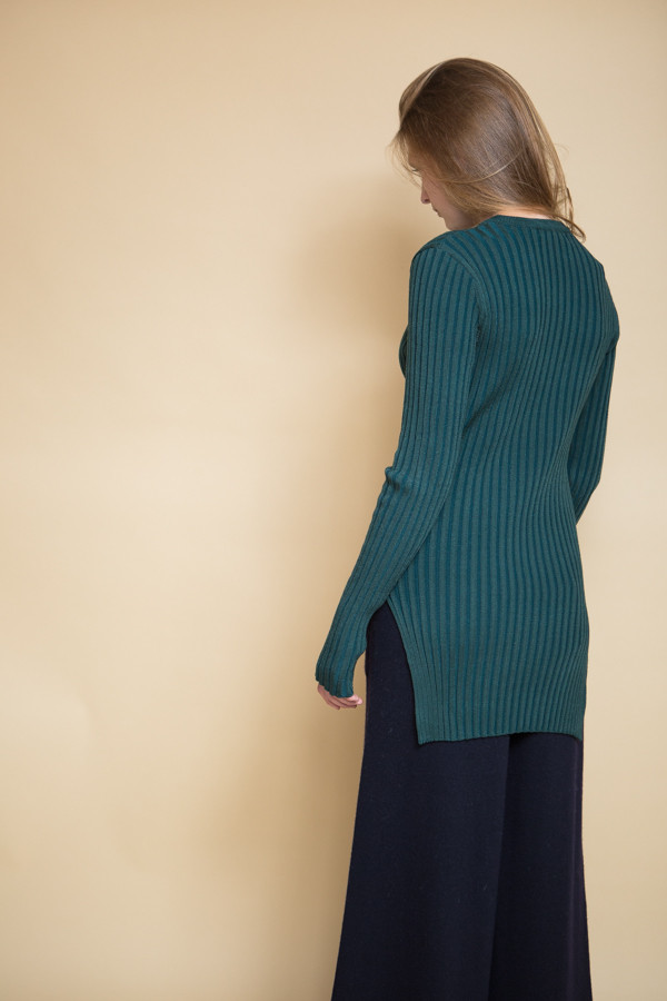 Achro Long Sleeve Ribbed Sweater - Green