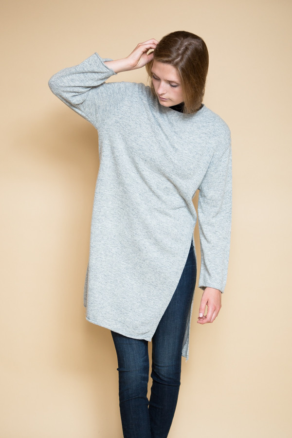 Achro Side Slit Long Sweater / Heather Gray