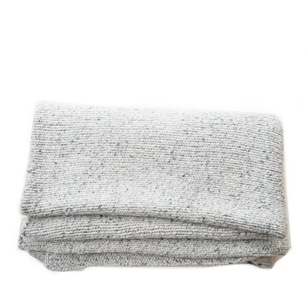 Noma Silver Blue Knit Wrap Throw by Oyuna