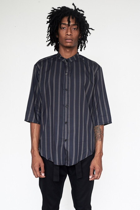 Unisex Assembly New York Tencel Stripe Nehru Shirt