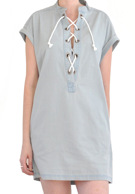 "Courtshop ""Kim"" Lace Up Deep V Chambray Dress"