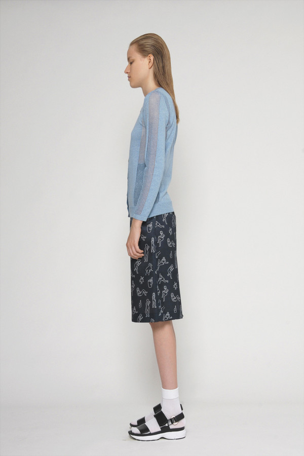 "Diarte ""Lina"" Printed Silk Cotton Straight Skirt"
