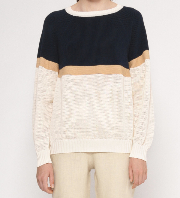 "Diarte ""Martin"" Color Block Cotton Lightweight Sweater"