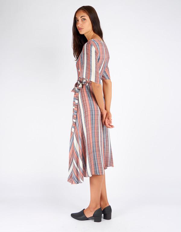 Just Female Stripe Wrap Dress Stripe AOP