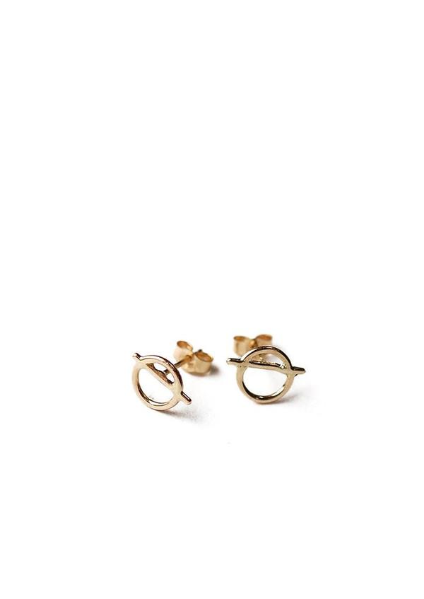 Tiro Tiro Circle/Slash Studs 14K Gold