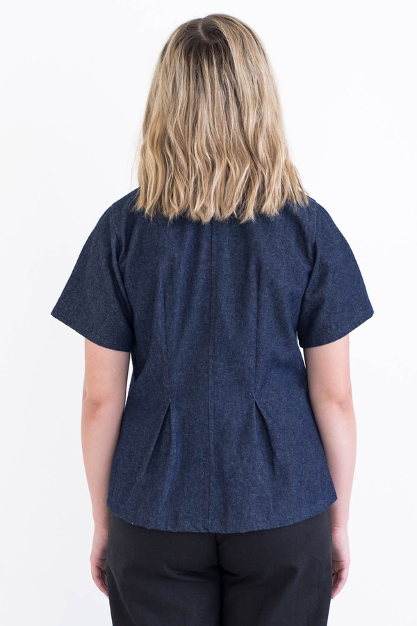 REIFhaus Gather Blouse in Indigo Denim