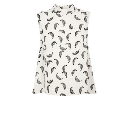 """Just Female """"Fly"""" Sleeveless Printed Top w/ Mock Neck"""