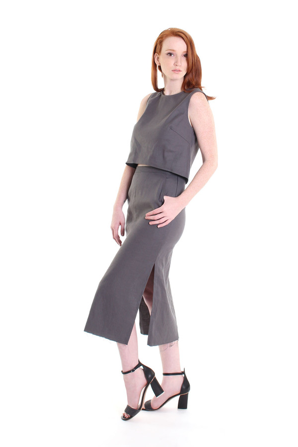 Obakki Alsea blouse in charcoal