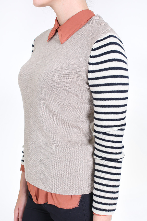 Chinti and Parker Breton sleeve sweater in oatmeal